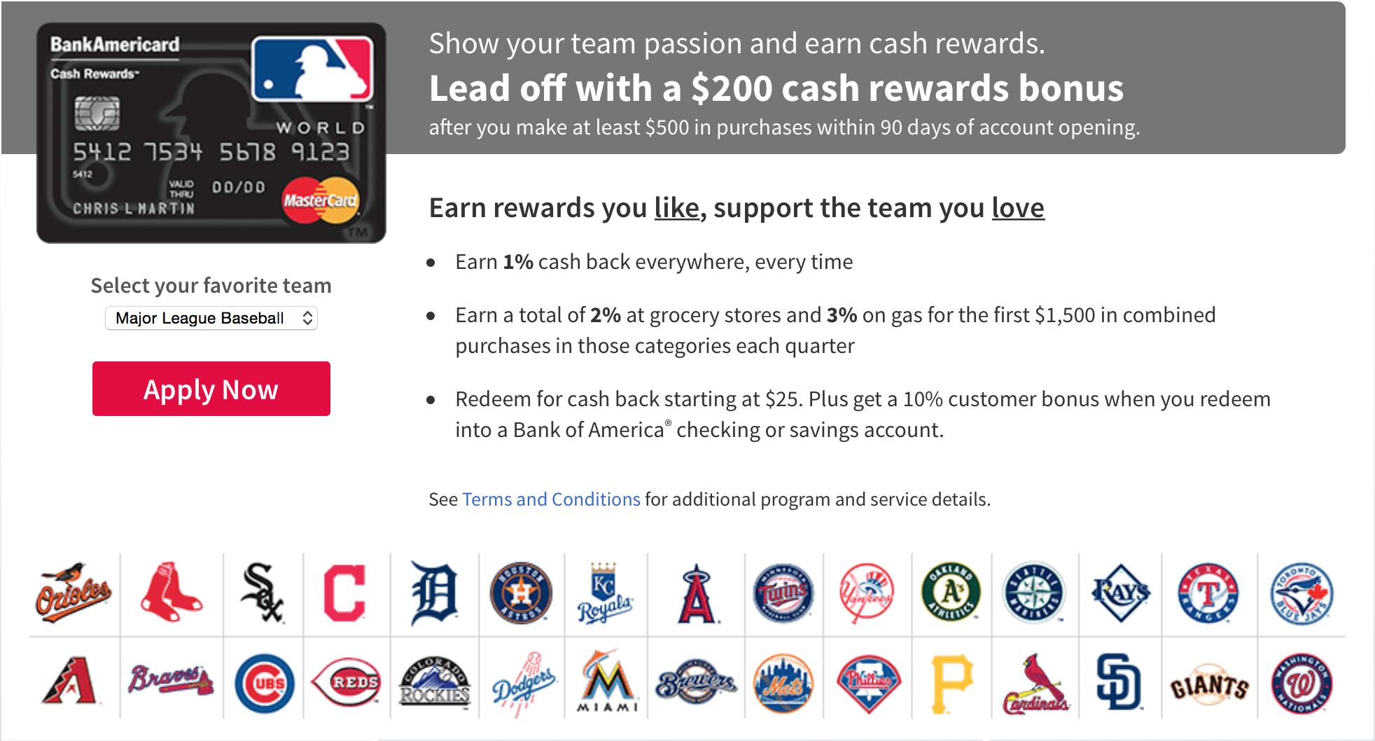 限時開卡優惠 – BOA MLB Cash Rewards 刷 $500 拿 $200 回來了~